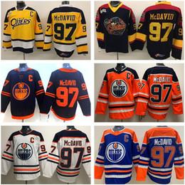 Erie olters 97 Коннор Mcdavid Jersey Premier Ohl с Coa Edmonton Oillers College желтый черный стежок синий белый оранжевый мужчина женщины молодежные дети на Распродаже