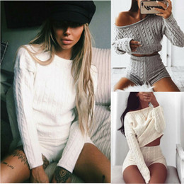 knitted wear jumpers UK - New Women Long Sleeve Knitted Sweater+Short Pants Jumper Winter Cable Knit Crop Top Lounge Wear Suit Ladies Tracksuit 2Pcs Set