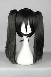 Black Wig Pigtails NZ - Black Straight Medium Pigtail Ponytail Women's Cosplay Anime Hair Wig