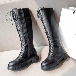 Carved boots online shopping - high quality new designer winter women knee boot leather Bullock carved zipper boot US SIZE chirstmas gift