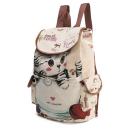 styles backpacks Australia - School Bags For Girls School Bags For Teenage Girls Cute Cat Printing Canvas Drawstring Backpack Zaino Scuola