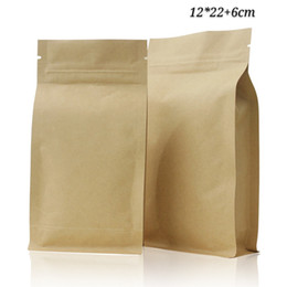 package coffee Australia - 12*22cm 50pcs Aluminium Foil Kraft Paper Zip Lock Standing Pouches Bags Coffee Storage Packaging Bags Food Grade Doypack Zipper Sealing Bags