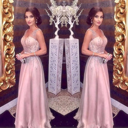 $enCountryForm.capitalKeyWord Australia - 2019 arabic Elegant Blush Pink Evening Dresses Long A-Line Sexy Straps V Neck Major Beading Prom Party Red Carpet Dress Girls Pageant Gowns
