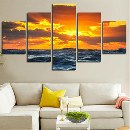 $enCountryForm.capitalKeyWord Australia - Wall Art Pictures HD Printed 5 Panel Beach Seascape Sunset Modern Painting On Canvas Home Decoration Posters Frame Living Room