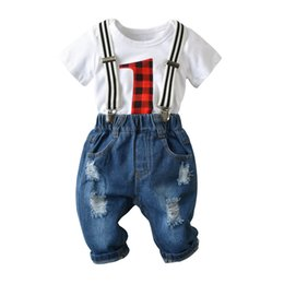 $enCountryForm.capitalKeyWord Australia - New baby boy clothes boys suits Newborn Outfits bow tie baby romper+ hole Jeans suspender trousers baby infant boy designer clothes A5618