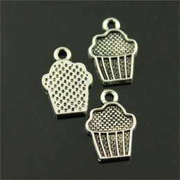 Cupcake Jewelry Wholesale Australia - 100pcs Cupcake Pendant Charms For Jewelry Making 2 Colors Antique Bronze Antique Silver Cupcake Charms Charm Cupcake 15x10mm