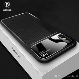 baseus iphone case Canada - For iPhone 8 Baseus Luxury Phone Case Capinhas Soft TPU & Glass Back Cover Fitted Case For iPhone 8 7 Plus Coque Fundas