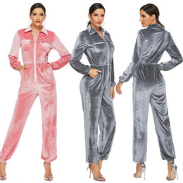 women s pink jumpsuits NZ - New arrival women pink grey velvet elegant jumpsuits & rompers fashion causal jumpers European and American style hot selling