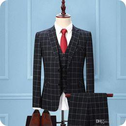 Vest Designs For Men Australia - Latest Designs Grey Grid Men Suits for Wedding Check Groom Tuxedos 3Piece (Coat+Pants+Vest) Groomsmen Suit Blazer Man Jacket Costume Homme