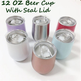 Discount christmas coffee mugs gifts - 12oz Beer Tumbler Cup with Seal Lids Stainless Steel Wine Glasses Coffee Steel Cup Mug Vacuum Rose Gold Thermos Christma