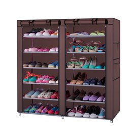 shoe linings Australia - 6 Row 2 Line Non-woven Fabric Shoe Rack Gray Coffee Simple Furniture multi-functional Shoe Storage Cabinets folding dust shoe