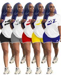 Wholesale swim shirts women online – Women Plus Size Tracksuits S XL Outfits Short Sleeve Piece Set Sportswear T shirts Shorts Jogger Suit Summer Streetwear Clothing