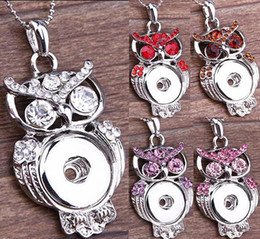 $enCountryForm.capitalKeyWord Australia - NOOSA Multicolor Owl Ginger Snap Button Pendants Necklace with Crystal Jewelry Interchangeable Jewerly 6 Colors for choices