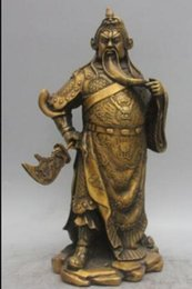 $enCountryForm.capitalKeyWord NZ - COPPER STATUE Bronze Copper Dragon Guan Gong warrior Guan Yu knight GuanGong Hold knife Statue
