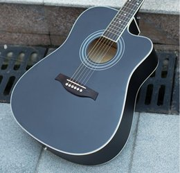 Discount basswood acoustic guitar brand - 41 inch acoustic guitar beginner Basswood guitar matte black corner practice piano factory wholesale free shipping