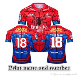 Wholesale 2019 NEW ZEALAND Super RUGBY Lions SPIDER MAN MARVEL RUGBY JERSEY size S XL Print name and number Top quality