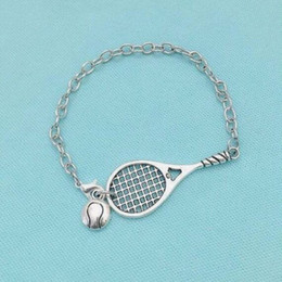 Sports Accessories For Wholesale NZ - Tennis Racket & Ball Bracelet Bangle Vintage Silver Handmade Friendship Sport Bracelet For Women Jewelry Fashion Crafts Gift DIY Accessories
