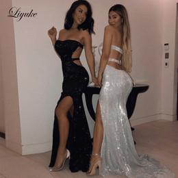 $enCountryForm.capitalKeyWord Australia - Bling Silver Black Sequined Mermaid Prom Dresses 2019 Long Side Slit Strapless Backless Rose Gold Women Formal Evening Gowns Liyuke
