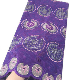 Floral Cotton Voile Australia - Floral Embroidery Swiss Voile Nigeria Lace Fabric New Cotton Latest African Laces 2019 Lilac Purple Lace Fabric With Stones