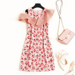 $enCountryForm.capitalKeyWord Australia - Women Girls Cute Pink Summer Dress 2019 Chiffon Patchwork Organza Cut Out Starburry Print Mini Dresses