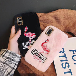 $enCountryForm.capitalKeyWord NZ - Winter Warm Hairy Furry Fluffy Flamingo heart shape Phone Cases for iPhone 6 6s Plus XS Max XR Plush Rabbit Fur Cover Embroidered