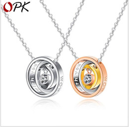 $enCountryForm.capitalKeyWord Australia - Tri-color three-ringed pendant charm Titanium-steel necklace with diamonds
