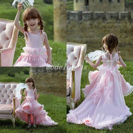 7055fde1ceb6 Baby Pink High Low Little Girls Pageant Dresses 2019 Jewel Corset Gathering  Beading Lovely Flower Girl Dress Child Birthday Party Gowns