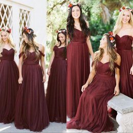 Olive dresses online shopping - Burgundy Bridesmaid Dresses Country Style Off Shoulder Beach Wedding Party Guest Gowns Maid of Honor Dress Cheap
