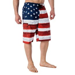 Wholesale flag board shorts resale online - American Flag Print Independance Day Inspired Board Denim Shorts Pants