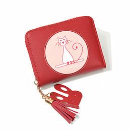 $enCountryForm.capitalKeyWord Australia - Women Wallet Faux Leather Kitten Print Tassel Pendant Money Wallets Clutch Pouch Bag Lady Purses Holders PU