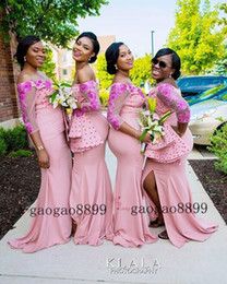 3d chocolates online shopping - Mermaid Long Bridesmaid Dresses African sexy split off the shouler with d flower lace beaded Maid Of Honor Gowns Wedding Guest Dresses
