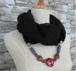 Scarfs Cotton Australia - Cotton and Linen Scarf Female Pure Linen National Wind Scarf Spring and Autumn Winter Ceramics Necklace Pendant to Keep Warm Neck