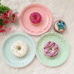 disposable plate for birthday party 2019 - festival supplies disposable Paper Plates Tableware for Birthday Wedding Party craft DIY favor baby shower golden dots c