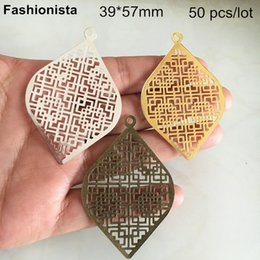 Rhombus Charms Australia - 50 pcs -39*57mm Metal Filigree Rhombus Charms,Gold-color,Silver-color,Bronze,DIY Earrings,Headware,Jewelry Findings For Handmade Crafts