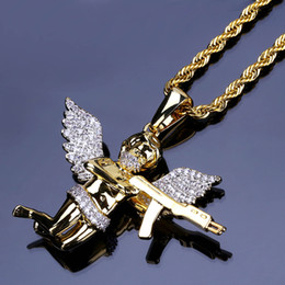 $enCountryForm.capitalKeyWord Australia - 18K Gold Plated Pendant Necklaces Luxury Exquisite Grade Quality Zircon Paved Angel and Gun Hip Hop Necklaces Jewelry Wholesale LN150