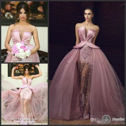 Satin SkirtS Short online shopping - Sweetheart Pink Lace Stain Prom Pageant Dresses with Overskirt Tony Chaaya Puffy Skirt Princess Middle East Occasion Evening Wear Gown