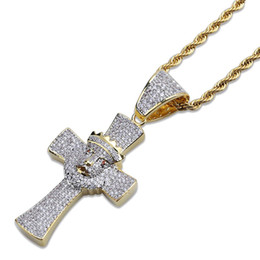 cross white gold men NZ - Fashion 18K Gold Plated Unisex Bling Full Diamond Cross Pendant Necklace Chains for Men Women Iced Out Zirconia Hip Hop Rapper Jewelry Gifts