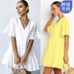 2019 Yeni Bağımsız Istasyonu Eabyyamaxunxiaji Yeni Avrupa ve Amerikan Sıcak Satış Saf Renk Derin V Yaka Kısa kollu Elbise indirimde