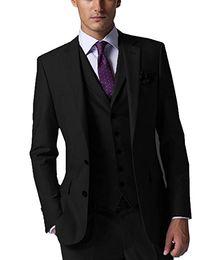 Dark Green Tie Grey Suit Australia - New Style Groom Tuxedos Black Groomsmen Custom Made Side Vent Best Man Suit Wedding Men Suits Bridegroom (Jacket+Pants+Tie+Vest) A4