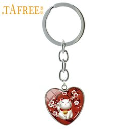 lucky cat keychain UK - TAFREE Fashion Red Maneki Neko keychain Japan Japanese Lucky Cat Beckoning Cat jewelry key chain ring Welcoming Cat gift H97