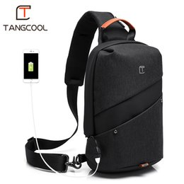 port bags Australia - 2019 New Tangcool Brand Men Fashion Messenger bags waterproof Oxford Women Chest Cross Body Bags Leisure Packs USB Charging port