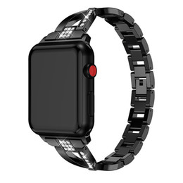 rhinestone bands for watch UK - Fashion Rhinestone Strap Bracelet Watch Band Stainless Steel Strap Loop Wristband 38 42 40 44mm For Apple i watch series 1 2 3 4