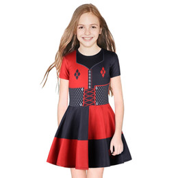 Wholesale Suicide Squad Kids Cosplay Dress Harley Quinn Clown Girls Cosplay Costume Uniform Child Halloween Christmas Dress