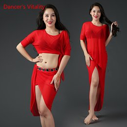 sexy indian woman costumes 2018 - Lady Women Belly Indian Oriental Dance Perspective Batwing Sleeves Top Sexy Split Skirt Suit Competition Costume Rumba D