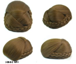 clipped hair Australia - High Temperature Fiber Synthetic Hair Pieces Women Buns Black Light Brown Blonde Clip-in Braided Chignons for Women