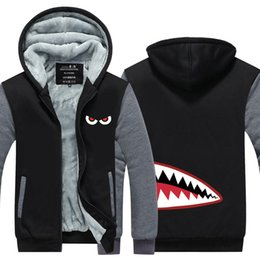 $enCountryForm.capitalKeyWord Australia - Men Casual Thicken Shark Head Style Sweatshirts Winter Cashmere Hoodie Zipper Jacket Leisure Sweatshirts Thicken Cardigan USA EU Size