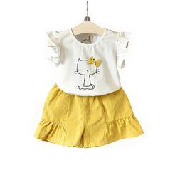 Girls Tassel Shirt Australia - 2019 hot children's clothing girls summer new cat bow short-sleeved T-shirt plus solid color shorts suit