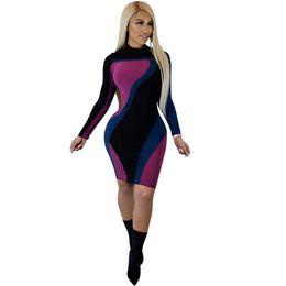 Turtles Blocks Australia - Sexy Women Turtleneck Dress Splice Color Block Contrast Stand Collar Clubwear Long Sleeve Bandage Bodycon Mini Dress 2019 Black