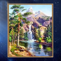 waterfall decorations NZ - YGS-387 DIY Partial 5D Diamond Embroide The waterfall Round Diamond Painting Cross Stitch Kits Diamond Mosaic Home Decoration