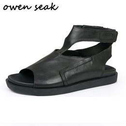$enCountryForm.capitalKeyWord Australia - 2018 Owen Seak New Men Rome Gladiatus Sandals Shoes Flip Flops Luxury Trainers Leather Summer Men Owen Sandals Black Shoes #99080